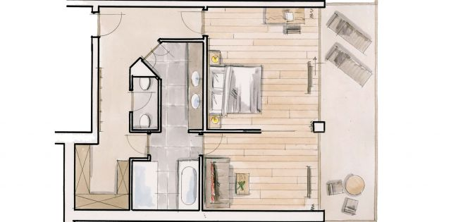 Ground plan Double Room Limone