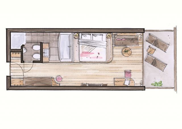 Ground plan Double Room Olive